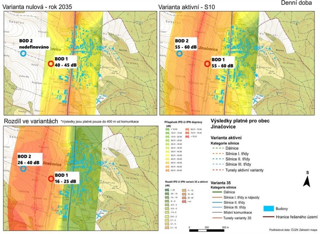 Snímek hlukové studie S10, 2035, den, oblast Jinačovice s doplněním pozice bodů 1 a 2