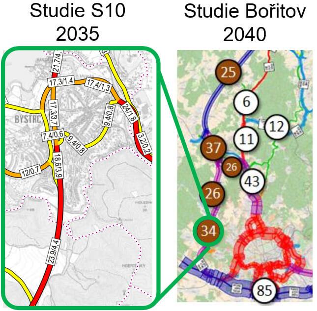 Celkové intenzity dopravy naStaré dálnici při realizaci D43 jako průtahu